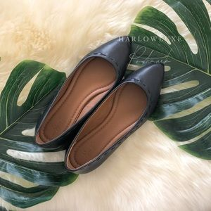 💓FRYE💓Pointed Toe Ballet Flats Black Leather